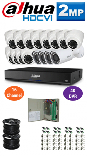 2MP Custom DAHUA Turbo HD Package - 4K 16Ch DVR, 16 Bullet & Dome Cameras