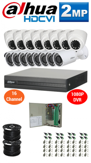 2MP Custom DAHUA Turbo HD Package - 1080P 16Ch DVR, 16 Bullet & Dome Cameras