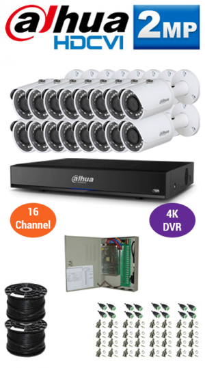 2MP Custom DAHUA Turbo HD Package - 4K 16Ch DVR, 16 Bullet Cameras