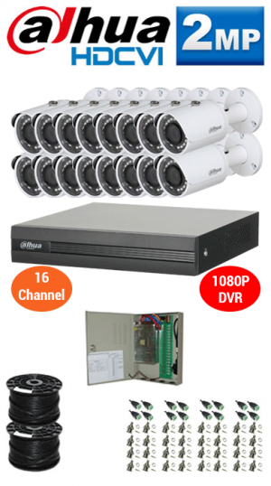 2MP Custom DAHUA Turbo HD Package - 1080P 16Ch DVR, 16 Bullet Cameras