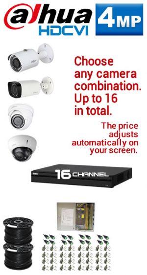 4MP Custom Dahua HDCVI Package - 4MP 16Ch DVR, Any Combination of up to 16 Cameras (SR)