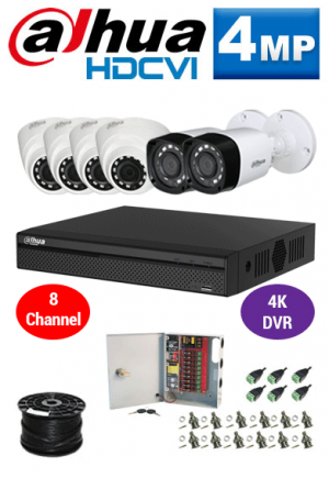 4MP Custom Dahua HDCVI Package - 4K 8Ch DVR, 6 Bullet and Dome Cameras