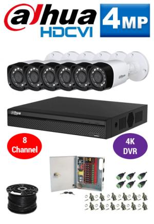 4MP Custom Dahua HDCVI Package - 4K 8Ch DVR, 6 Bullet Cameras
