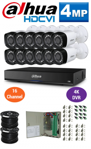 4MP Custom Dahua HDCVI Package - 4K 16Ch DVR, 12 Bullet Cameras