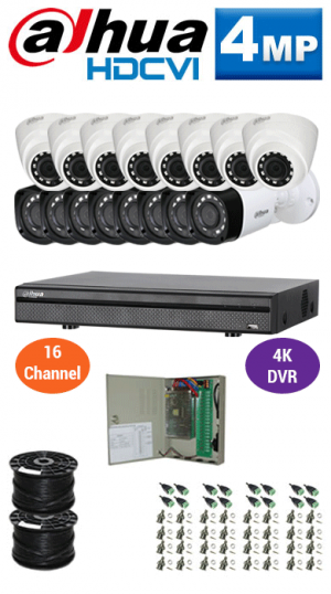 4MP Custom Dahua HDCVI Package - 4K 16Ch DVR, 16 Bullet Cameras