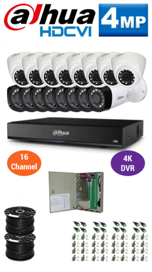 4MP Custom Dahua HDCVI Package - 4K 16Ch DVR, 16 Bullet and Dome Cameras