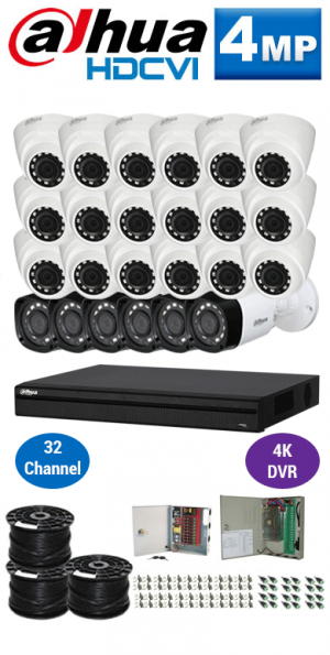 4MP Custom Dahua HDCVI Package - 4K 32Ch DVR, 24 Bullet and Dome Cameras