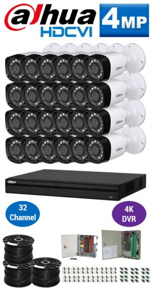 4MP Custom Dahua HDCVI Package - 4K 32Ch DVR, 24 Bullet Cameras