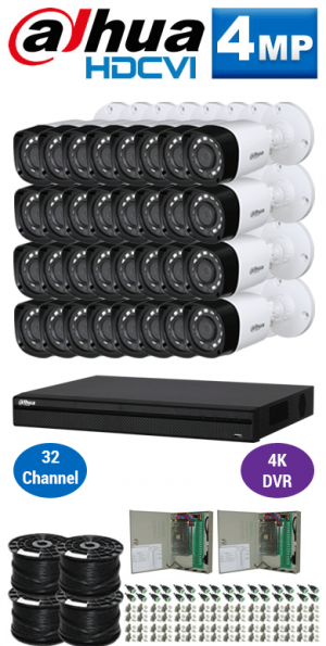 4MP Custom Dahua HDCVI Package - 4K 32Ch DVR, 32 Bullet Cameras