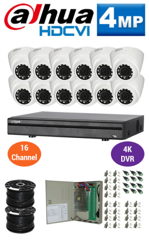 4MP Custom Dahua HDCVI Package - 4K 16Ch DVR, 12 Dome Cameras