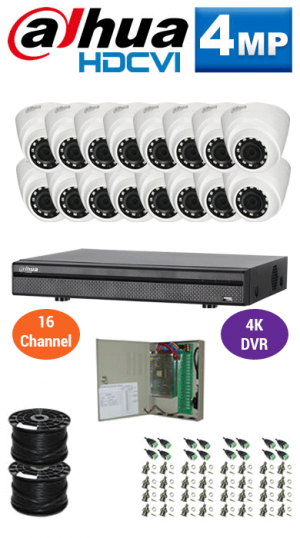 4MP Custom Dahua HDCVI Package - 4K 16Ch DVR, 16 Dome Cameras