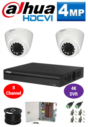 4MP Custom Dahua HDCVI Package - 4K 4Ch DVR, 2 Dome Cameras