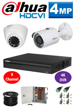 4MP Custom Dahua HDCVI Package - 4K 8Ch DVR, 2 Bullet and Dome Cameras