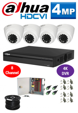 4MP Custom Dahua HDCVI Package - 4K 8Ch DVR, 4 Dome Cameras