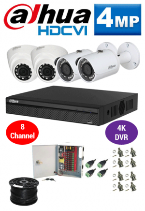 4MP Custom Dahua HDCVI Package - 4K 8Ch DVR, 4 Bullet and Dome Cameras