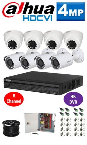 4MP Custom Dahua HDCVI Package - 4K 8Ch DVR, 8 Bullet and Dome Cameras