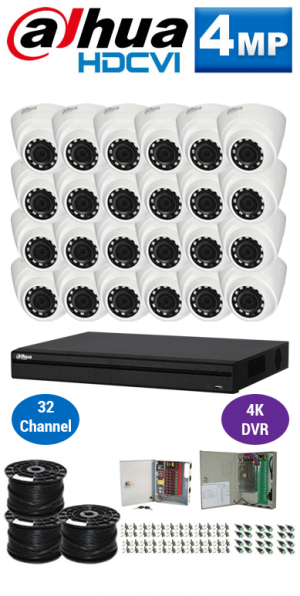 4MP Custom Dahua HDCVI Package - 4K 32Ch DVR, 24 Dome Cameras