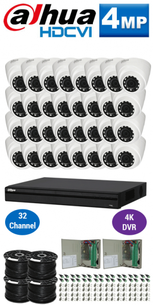 4MP Custom Dahua HDCVI Package - 4K 32Ch DVR, 32 Dome Cameras