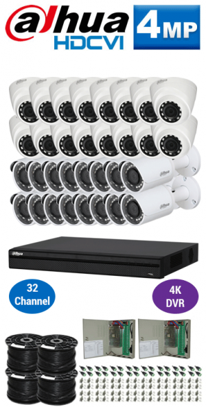 4MP Custom Dahua HDCVI Package - 4K 32Ch DVR, 32 Bullet and Dome Cameras